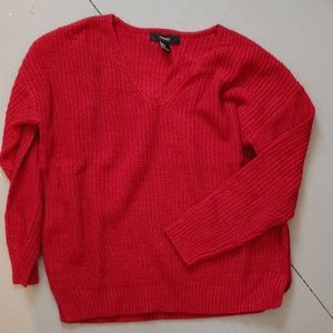 Forever 21 V-neck Dark Red Sweater